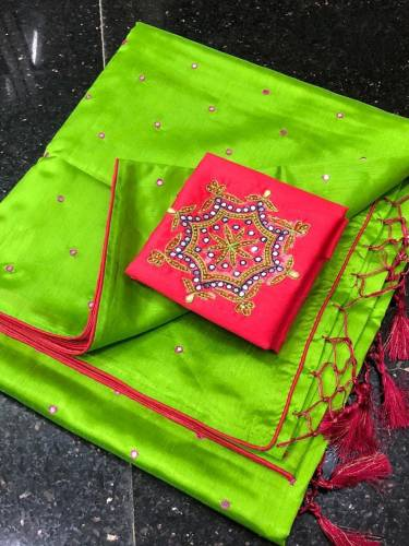 Adorable Light Green Color Festive Wear Designer Mirror Hand Made Button Contrast Piping Work Silk Saree Blouse