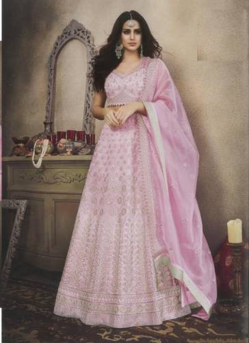 Amazing Light Purple Color Designer Bridal Butterfly Net Fancy Embroidered Stone Work Lehenga Choli For Wedding Wear
