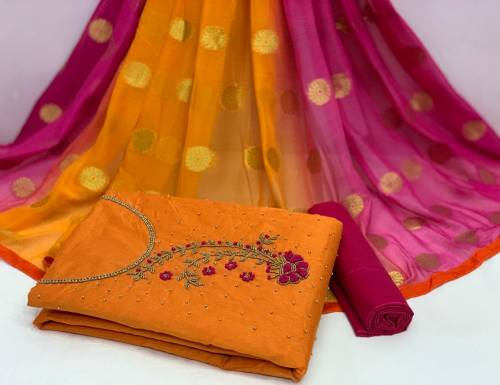 Alluring Mustard Color Wedding Wear Cotton Chanderi Modal Khatli Hand Work Salwar Suit For Women