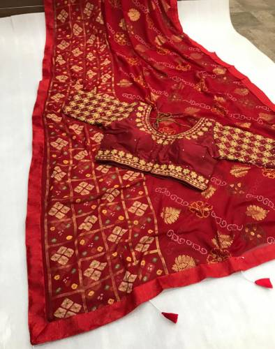 Adorning Maroon Color Designer Bandhani Printed Foil Mill Work Soft Georgette Saree Ready Made Blouse