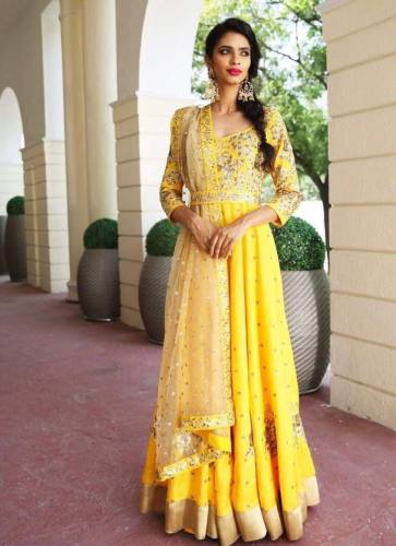 Amazing Yellow Color Full Stitched Banglori Satin Sequence Embroidered Work Dupatta With Gown For Function Wear