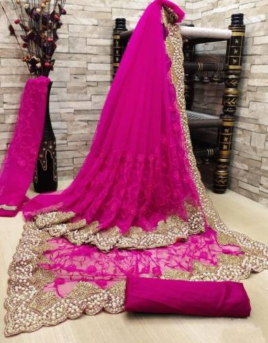 Adorable Magenta Color Designer Soft Net Diamond Embroidered Multi Zari Work Saree Blouse For Function Wear