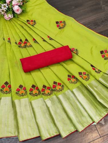 Gorgeous Light Green Color Wedding Wear Jacquard Fancy Embroidered Work Border Saree Blouse