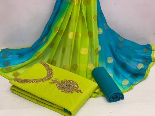 Alluring Light Green Color Beautiful Hand Khatli Work Cotton Chanderi Fancy Salwar Suit For Party Wear