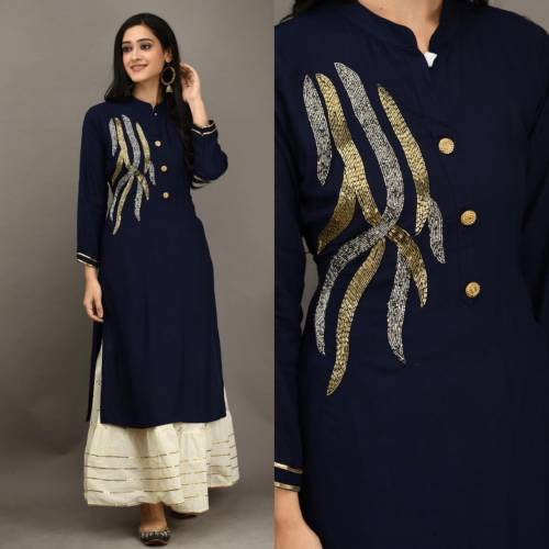 Astonishing Navy Blue Color Party Wear Rayon Fancy Khatli Work Ready Made Kurti Plazo For Women