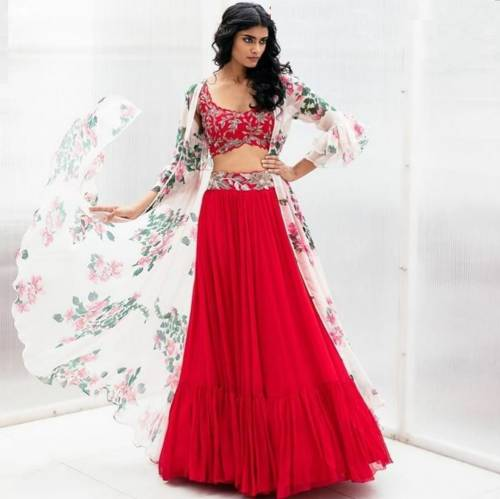Bewildering Red Color Designer Georgette Embroidered Work Indo Western Lehenga Choli For Wedding Wear
