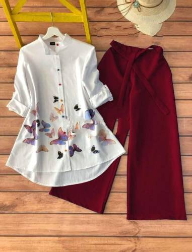 Adorable Maroon Color Fancy Cotton Rayon Designer Printed Ready Made Party Wear Kurti Plazo