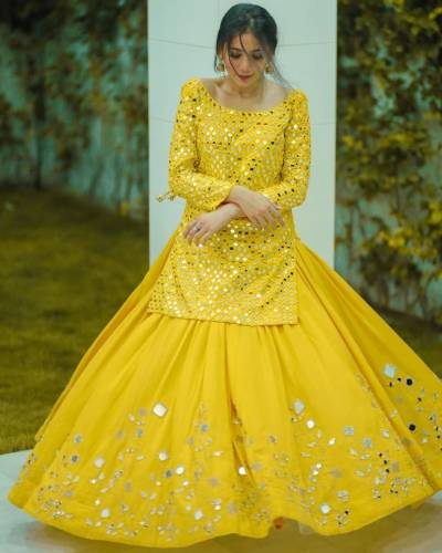 Exceptional Yellow Color Wedding Wear Georgette Paper Mirror Thread Work Top With Lehenga
