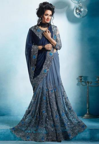 Wedding Wear Grey Color Prodigious Soft Net Georgette Designer Embroidered Work Fancy Saree Blouse