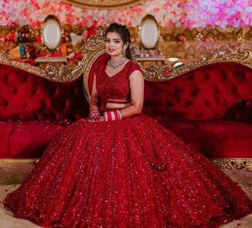 Amazing Red Color Designer Georgette Chain Sequence Work Lehenga Choli For Wedding Wear