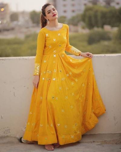 Appealing Yellow Color Festive Wear Full Stitched Stylish Georgette Zari Embroidered Work Gown