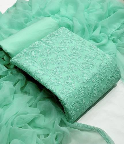 Breath-taking Sea Green Color Designer Lucknowi Sequence Work Fancy Georgette Festive Wear Salwar Suit