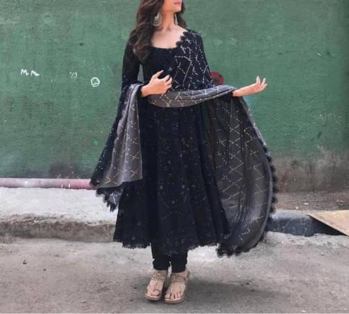 Astonishing Black Color Festive Wear Georgette Embroidered Work Salwar Suit