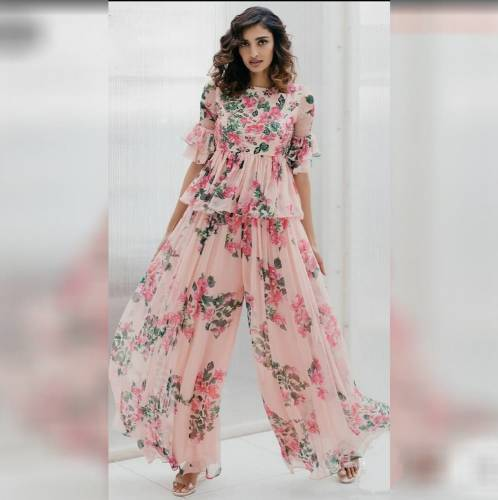 Astonishing Peach Color Full Stitched Designer Georgette Digital Floral Printed Top Plazo For Party Wear