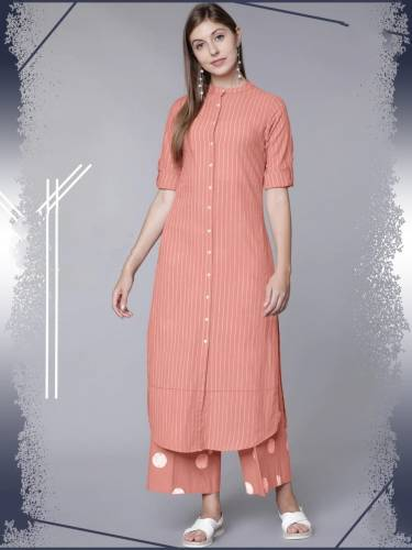 Astonishing Peach Color Full Stitched Cotton Rayon Thread Work Designer Party Wear Plazo Kurti