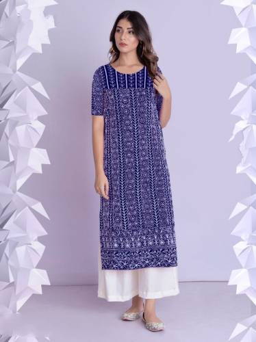 Admiring Royal Blue Color Cotton rayon Fancy Thread Work Function Wear Full Stitched Plazo Kurti For Women
