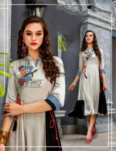 Appealing Grey Color Party Wear Ready Made Digital Printed Beautiful Cotton Kurti For Women