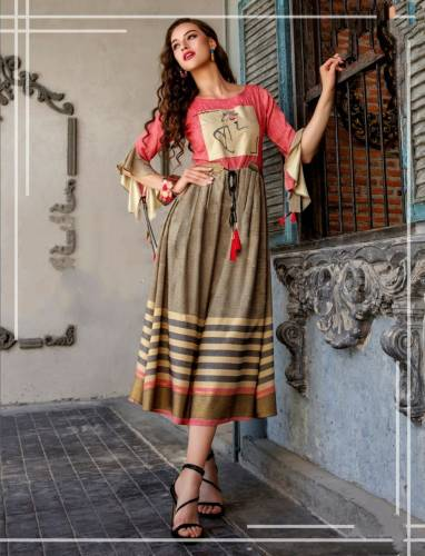 Festive Wear Multi Color Cotton Digital Printed Designer Full Stitched Kurti For Ladies