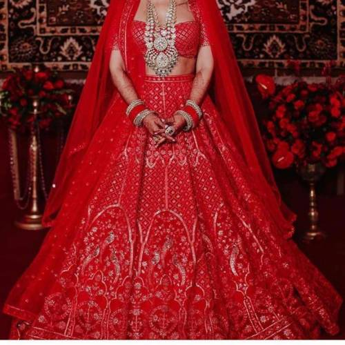Captivating Red Color Designer Georgette Chine Stitch Work Lehenga Choli For Wedding Wear