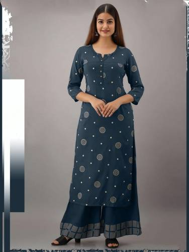 Admiring Prussian Blue Color Wedding Wear Rayon Thread Work Cotton Designer Full Stitched Plazo Kurti