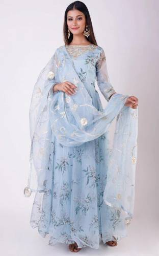 Appealing Light Blue Color Festive Wear Organza Printed Embroidered Work Ready Made Gown With Dupatta