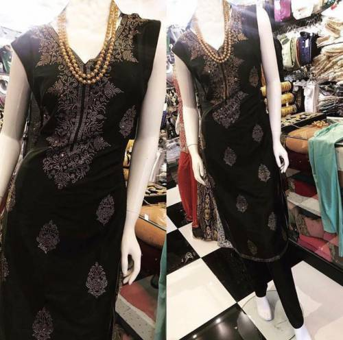 Amazeballs Black Color Function Wear Hot Fix Fancy Work Modal Chanderi Kurti Pent