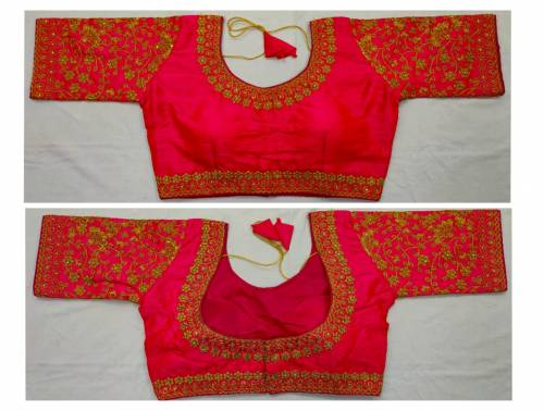 Amazeballs Rani Pink Color Fantam Silk Zari Thread Work Full Stitched Blouse For Wedding Wear