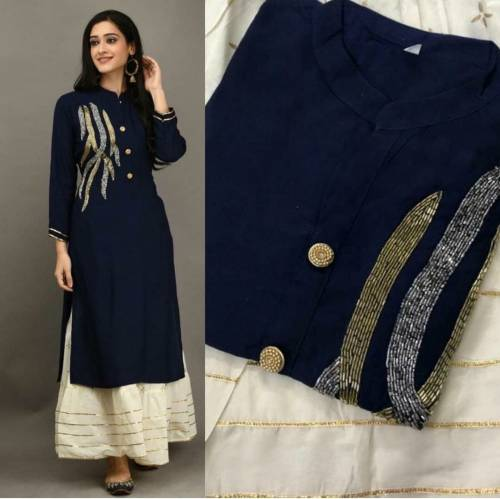 Admiring Navy Blue Color Party Wear Rayon Designer Hand Work Full Stitched Plazo Kurti For Women