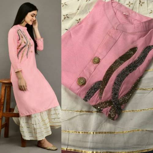 Pretty Light Pink Color Full Stitched Rayon Function Wear Hand Work Designer Kurti Plazo