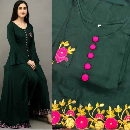Admirable Dark Green Color Casual Wear Rayon Embroidered Work Designer Ready Made Plazo Kurti