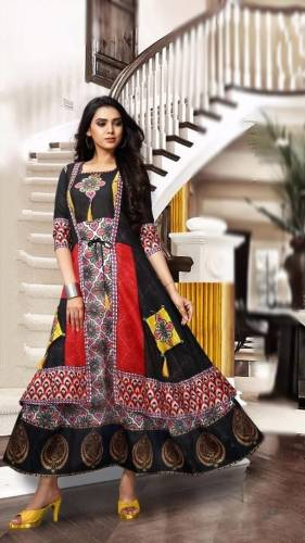 Extraordinary Black Color Full Stitched Cotton Chanderi Fancy Digital Printed Long Kurti For Women