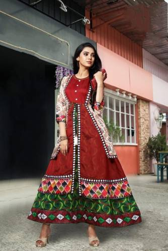 Gleaming Green Color Function Wear Cotton Digital Printed Chanderi Ready Made Long Kurti