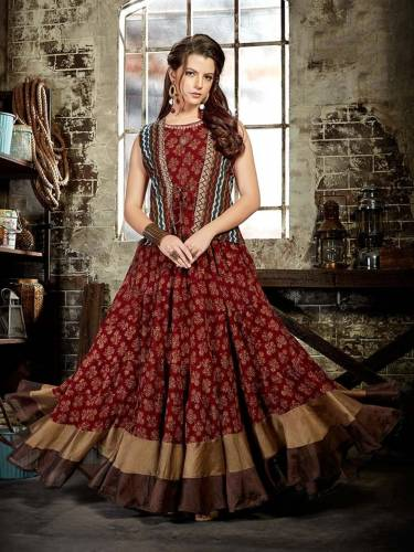 Fabulous Maroon Color Festive Wear Digital Printed Fancy Chanderi Cotton Long Full Stitched Kurti
