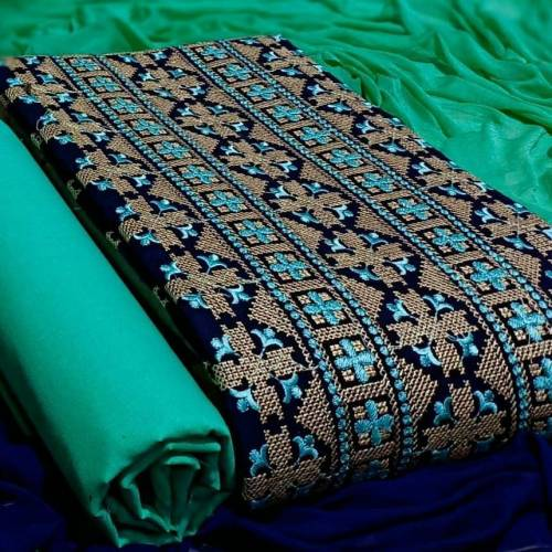 Appealing Navy Blue Color Casual Wear Embroidered Kashmiri Work Cotton Fancy Dress Material