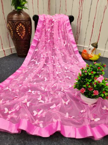 Beautiful Pink Color Soft Butterfly Net Embroidered Work Designer Lace Saree Blouse For Wedding Wear