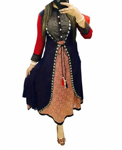 Function Wear Navy Blue Color Digital printed Beautiful Rayon Full Stitched Kurti