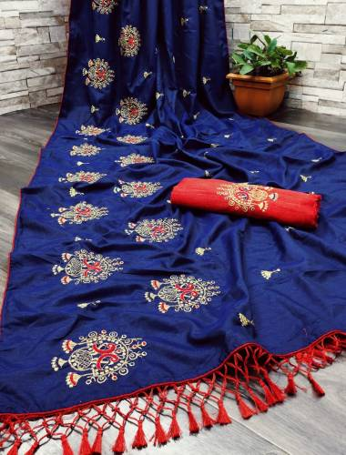 Appealing Navy Blue Color Designer Sana Silk Embroidered Work Fancy Piping Jalar Party Wear Saree Blouse