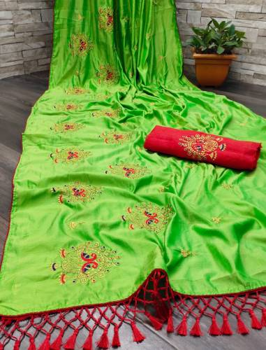 Astonishing Green Color Fancy Jalar Piping Sana Silk Embroidered Work Occasion Wear Saree Blouse