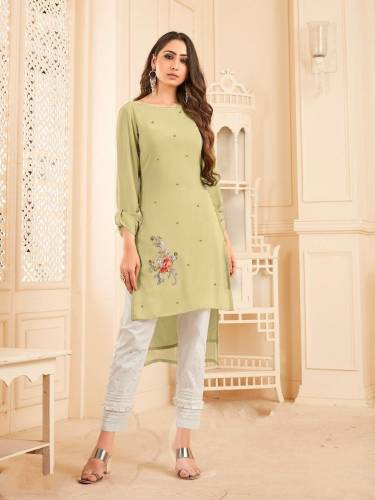 Function Wear Kurti Light Green Georgette With Diamond Work Readymade Kurti Pant CHETANA103J