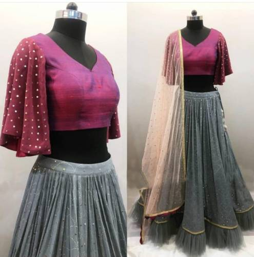 Awesome Grey Color Georgette Fancy Sequence Work Lehenga Choli For Wedding Wear