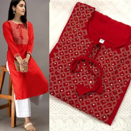 Astonishing Red Color Designer Rayon Cotton Embroidered Work Casual Wear Ready Made Plazo Kurti