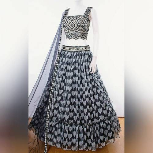 Engaging Black Color Digital Printed Georgette Embroidered Work Lace Function Wear Lehenga Choli