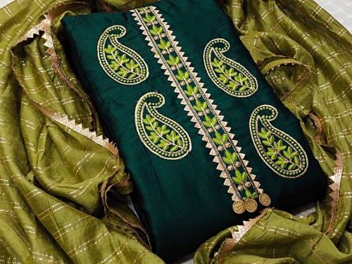 Amazeballs Bottle Green Color Party Wear Glace Cotton Embroidered Work Salwar Suit Design