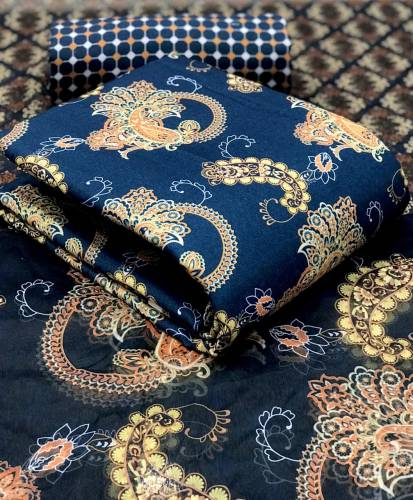 Absorbing Blue Color Fancy Printed Cotton Pashmina Designer Unstitched Dress Material
