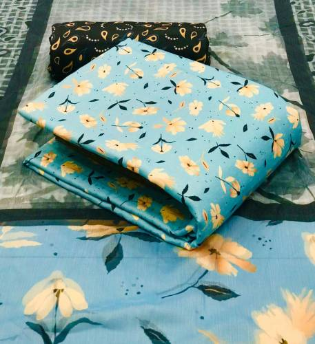 Attractive Sky Blue Color Pashmina Cotton Printed Salwar Suit For Women