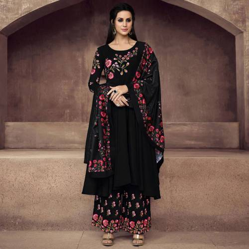 Engrossing Wear Georgette Thread Work Sharara Plazo Type Semi Stitched Straight Cut Suit For Women