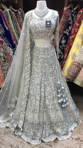 Beautiful Soft Net Grey Color Chain Stitched Work Lehenga Choli For Women