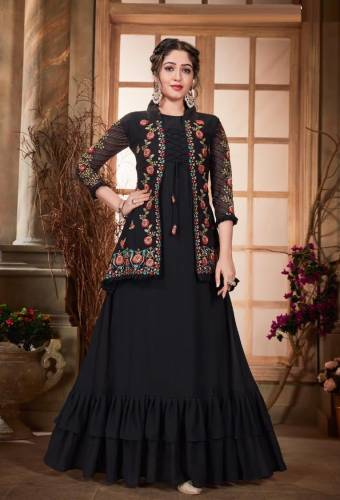 Absorbing Black Color Georgette Fancy Embroidered Work Jacket Style Kurti For Women