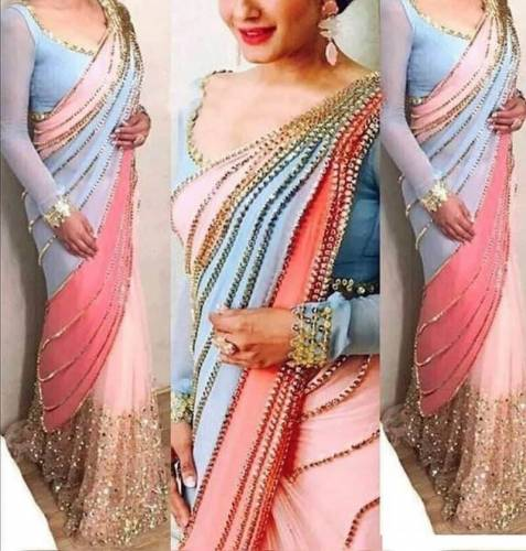 Beautiful Sky Blue Color Designer Georgette Sequence Embroidered Work Saree Blouse
