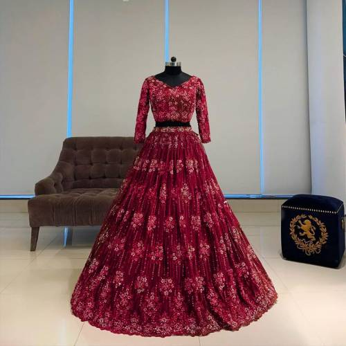 Amazeballs Red Color Designer Georgette Chine Stitched Work Wedding Wear Lehenga Choli